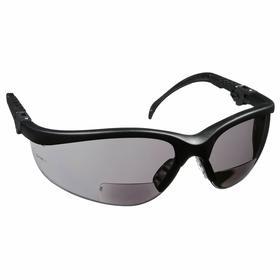 MCR Bifocal Safety Reading Glasses: Gray, Half Frame, Scratch Resistant, Black, ANSI Z87+, Nylon, Adj Temples