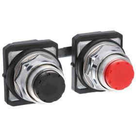 Multi-Head Push Button Switch: 30 mm Panel Cutout Dia, 2 Operators, Non-Illuminated, No Legend, Maintained, Round, Black/Red