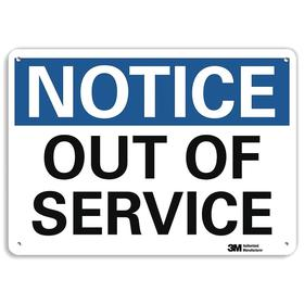 Lyle Maintenance Sign: 7 in Overall Ht, 10 in Overall Wd, Aluminum, Mounting Holes, English, Notice, Out of Service