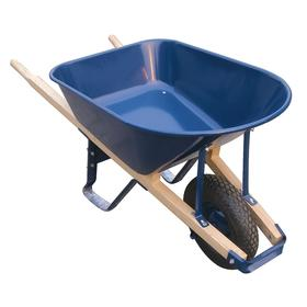 Wheelbarrow: Single Wheel Configuration, Seamless Steel, 6 cu ft Max Volume Capacity, 285 lb Max Load Capacity, Blue