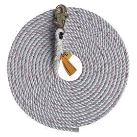 DBI Sala Rope Lifeline: 25 ft Lifeline Lg, Polyester/Polypropylene, 5/8 in Lifeline Dia, 310 lb Max Load Capacity