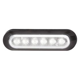 Warning Light: LED, Mounting Pad, 12V DC/24V DC, 24 Flashes per Minute, 1 1/2 in Ht, 5 7/64 in Dia, White, Black, Oval