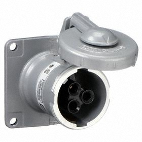 Hubbell Watertight Pin & Sleeve Receptacle: 3 Pins, 2 Wires, 600V AC, 60 A Current, Style 2 Grounding, Nylon, Flip Lid