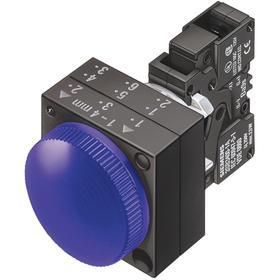 Siemens Pilot Light Complete Unit: 24V AC/DC, Metal, Blue, Screw Terminal, AC/DC Current Type, For LED, IP66 IP Rating