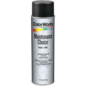 ColorWorks Spray Paint: Gray, Gloss, 15 min Dry Time, 15 to 18 sq ft, 11 fl oz Container Size, Sprayer, Lacquer Thinner