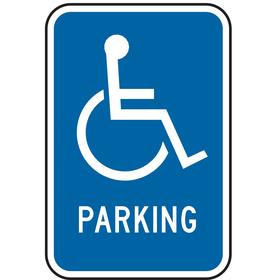 Zing Accessible Parking Sign: 18 in Overall Ht, 12 in Overall Wd, Aluminum, High Intensity, Text & Graphic, 99%, Blue