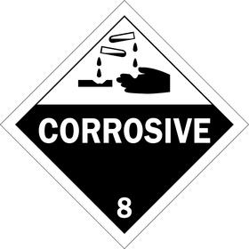 Brady DOT Vehicle Placard: Corrosive 8, 10 3/4 in Overall Ht, 10 3/4 in Overall Wd, Tagboard, Slide-In