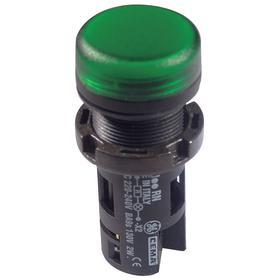 Pilot Light Complete Unit: 220 V AC/240 V DC, Plastic, Green, Signaling, 100000 hr Avg Life, Black, Screw Terminal