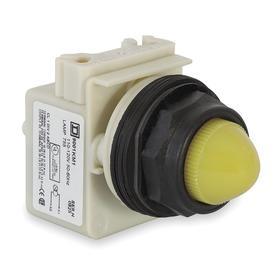 Schneider Electric Pilot Light: Push to Test Pilot Light, 120V AC, Transformer, White, Pressure Plate, AC Current Type