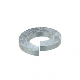 Split Lock Washer: Steel, Zinc Plated, For 1/4 in Screw Size, 0.26 in ID, 0.487 in OD, 0.062 in Thickness, 100 PK