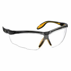 Honeywell Safety Glasses: Wraparound Frame, Scratch Resistant, Black/Yellow, Polycarbonate, Adj Temples, Manufacturing