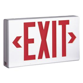 Eaton Lighted Exit Sign: 2 Faces, Directional Indicators, Red, 7 1/2 in Overall Ht, 13 in Overall Lg, Polycarbonate