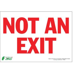 Exit Sign: Not a Exit, 7 in Overall Ht, 10 in Overall Wd, Polyester, Self-Adhesive