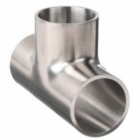 Stainless Steel Pipe Tee: 304 Material Grade, 150 Grit OD/180 Grit ID, Seamless, 1/16 in Wall Thickness, Butt Weld