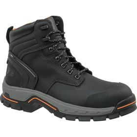 Timberland Pro Hiker-Style Work Boot: Men, Alloy, Leather, Black, Chemical Resistant/Slip Resistant, Electrical Hazard Rated, 6 in Shoe Ht, 1 PR