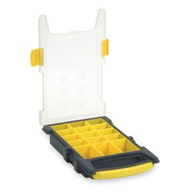 Compartment Box: 2 7/16 in Overall Ht, 13 3/8 in Overall Wd, 8 3/8 in Overall Dp, Plastic, 15 Compartments, Black/Yellow