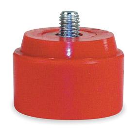 "Rep Hammer Face: Medium Soft Hardness, Threaded, 1 1/2 in Dia, PVC, Red, 5/16""-18 Thread Size"