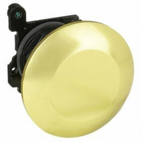 Eaton Push Button Mushroom Head: 30 mm Compatible Panel Cutout Dia, Metal, 38.1 mm Overall Ht, Yellow, Screw On, IP65 IP Rating