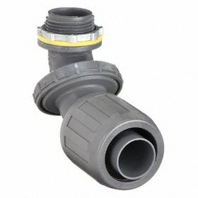 Liquid-Tight Non-Metallic Elbow: 0 to 90° Connection Orientation, Gray, 3/4 Trade Size, Plastic