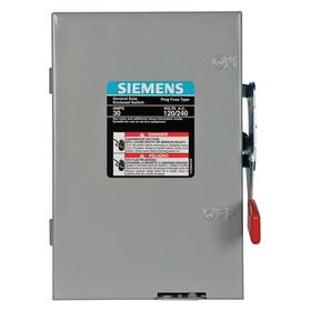 Safety Switch: Single Phase, 2 Poles, Steel, 30 A At 120V AC/30 A At 240V AC Switch Rating, Indoor, NEMA 1 NEMA Rating