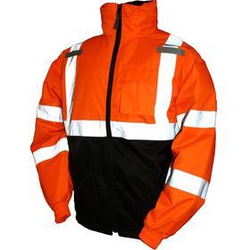 ANSI Class 3 Cut Resistant Bomber Jacket: M Size, Polyester, Black/Orange, Storm Flap/Zipper, Attached Hood, Men