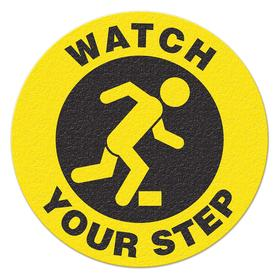 Trip Hazard Sign: Plastic, Self-Adhesive Surface Mount, No Header, Watch Your Step, English, Text & Graphic, Yellow