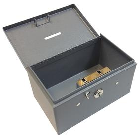 Cash Box: 3 in Ht, 5 1/2 in Wd, 3 3/8 in Dp, Key Lock, 1 Bill Compartments, 0 Coin Compartments, Steel, Gray