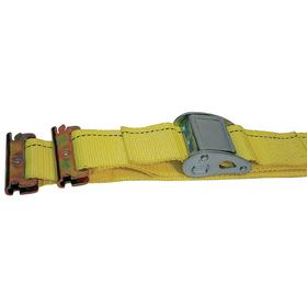 Tie-Down Strap with Cam Buckle and E-Track Fittings: 16 ft Overall Lg, 2 in Strap Wd, 666 lb Max Load Capacity, 7 PK