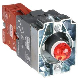 Lamp Module & Contact Block: For Chrome Operators, 1.57 in Overall Lg, Red, Includes Bulb, 2.97 in Overall Ht, 1.81 in Overall Wd, LED