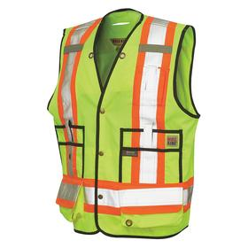 Work King Surveyor Vest: Polyester, Fluorescent Green, Snaps, 12 Pockets, Men, 37 in Max Chest Size, S Size, Green