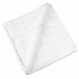 Bath Towel: 100% Cotton, White, 40 in Lg, 20 in Wd, Blended Cam, 12 PK