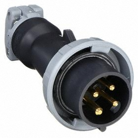 Hubbell IEC Non-Metallic Watertight Pin & Sleeve Plug: Three Phase, 4 Contacts, 60 Hz Volt Freq, 20 A Current, 600V AC