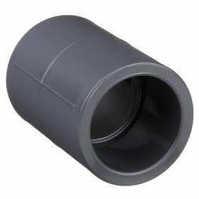 CPVC Pipe Coupling: 80 Schedule, Slip Joint, 3/4 Pipe Size (Port 1), 3/4 Pipe Size (Port 2), Gray