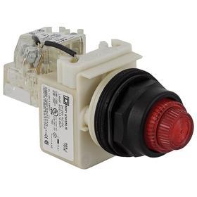 Schneider Electric Pilot Light: Push to Test Pilot Light, 120V AC, Full Volt, For LED, 100000 hr Avg Life, Red, Metal