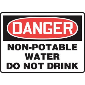 Accuform Food & Water Sanitation Sign: 7 in Overall Ht, 10 in Overall Wd, Vinyl, Self-Adhesive, English, Danger, Text