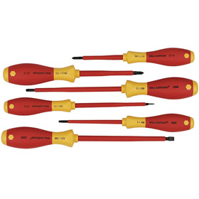 Screwdriver Set: Insulated, Polypropylene, Chrome Vanadium Steel, 6 Pieces, Red/Yellow
