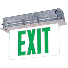 Heavy Duty Metal Lighted Exit Sign: 2 Faces, Directional Indicators, Green, 10 3/8 in Overall Ht, 12 3/4 in Overall Lg