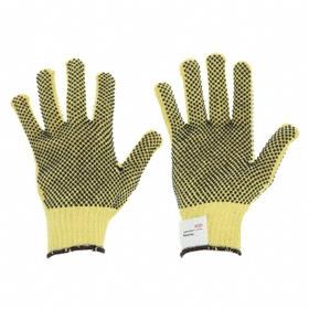 Work Glove: Fabric Glove, L Size, Added Grip, ANSI Cut-Resist Level 3, Knit Cuff, Kevlar, Kevlar with PVC Dots, 1 PR