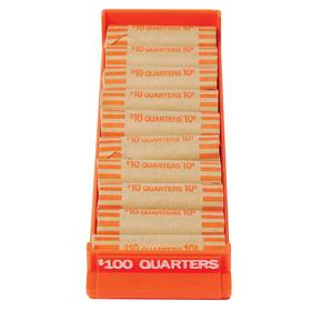 Coin Tray: Quarters, 400 Max # of Coins, 10 1/4 in Wd, 3 1/8 in Dp, Orange, Aluminum