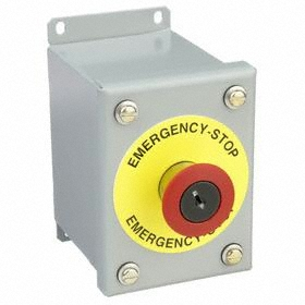 GE Emergency Stop Push Button Station: Red, 4.25 in Overall Wd, 5 in Overall Ht, 3.5 in Overall Dp, 1 Operators, Round