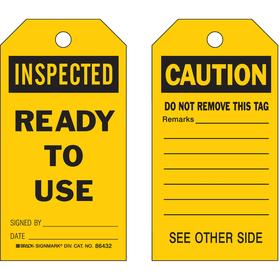 Brady Inspection Tag: 5 3/4 in Overall Ht, 3 in Overall Wd, Polyester, Inspected, Ready to Use Signed By: Date:, 10 PK