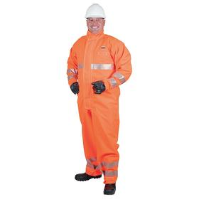 Ansell Coverall: CPC Polyester Trilaminate, Fluorescent Orange, Unisex, 31 in Inseam Lg, M Size, ANSI/ISEA 107_NFPA 1992
