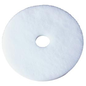 Floor Pad: White, Wet or Dry, White Floor Pad, For 20 in Machine Size, Buffing, 300 RPM Max Speed, Light to Heavy, 5 PK