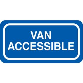 Zing Accessible Parking Sign: 6 in Overall Ht, 12 in Overall Wd, Aluminum, Engineer Grade, Van Accessible, Text