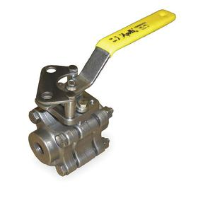 Conbraco Ball Valve: 3-Piece, Full Port Classification, Stainless Steel, Locking Lever, Socket, 500° F Max Op Temp