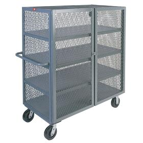 Security Cart: 4 Shelves, Powder Coated, Steel, Phenolic, (2) Rigid/(2) Swivel, 3000 lb Max Load Capacity, 6 in Caster Dia