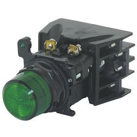 Eaton Pilot Light Complete Unit: Indicator Light, Full Volt, Green, For LED, Black, 30 mm Compatible Panel Cutout Dia