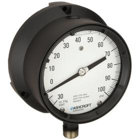Test Compound Gauge: Bottom, 1/2 in Gauge Port Size, MNPT Gauge Connection Type, 4 1/2 in Dial Dia, psi Primary Range Display Units, +/-0.50% Accuracy