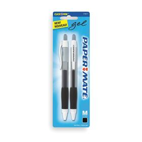 Gel Pen: Retractable, Textured, Black, Medium, 2 PK