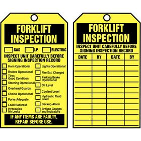 Accuform Inspection Tag: 6 1/4 in Overall Ht, 3 in Overall Wd, Cardstock, Forklift Inspection, 0.375 in Hole Dia, 100 PK